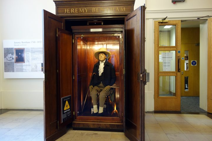 Jeremy Bentham in his auto-icon cabinet