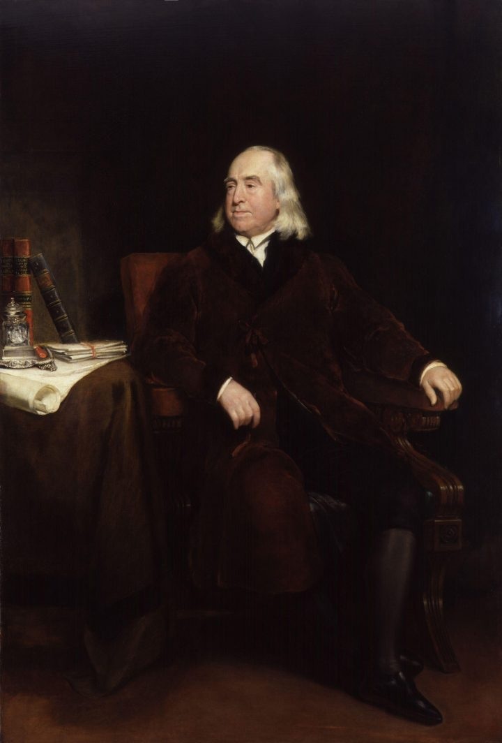"Henry William Pickersgill, ""Portrait of Jeremy Bentham"" (exhibited 1829), oil on canvas (via National Portrait Gallery/Wikimedia)"