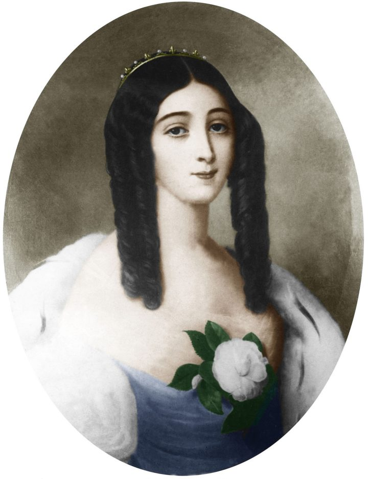 Marie Duplessis, who died of tuberculosis at the age of 23 in 1847, in a 19th-century portrait by Édouard Viénot (via Wikimedia)
