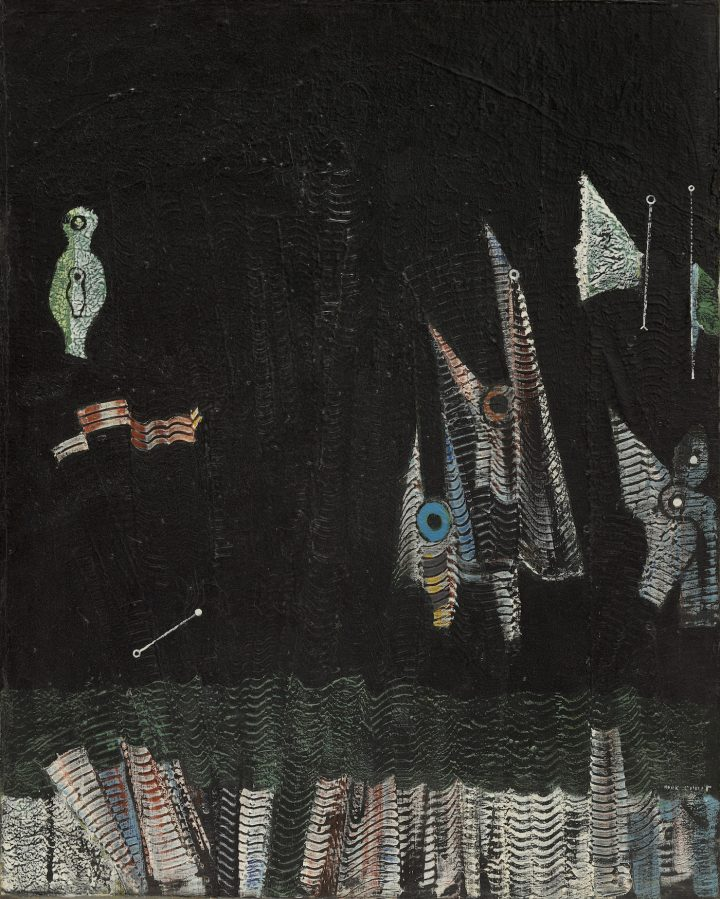 """Max Ernst, """"Birds above the Forest"""" (""""Oiseaux au-dessus de la forêt,"""" 1929), oil on canvas, 31 3/4 x 25 1/4 in, the Museum of Modern Art, New York, Katherine S. Dreier Bequest, 1953 (photo by John Wronn, © 2017 Artists Rights Society/ARS, New York / ADAGP, Paris)"""