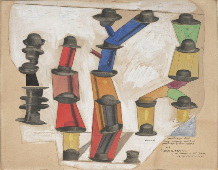 """Max Ernst, """"The Hat Makes the Man"""" (""""C'est le chapeau qui fait l'homme,"""" 1920), gouache, pencil, oil, and ink on cut‑and‑pasted printed paper on paper, 13 7/8 x 17 3/4 in, the Museum of Modern Art, New York, purchase, 1935 (photo by Paige Knight, © 2017 Artists Rights Society/ARS, New York / ADAGP, Paris)"""