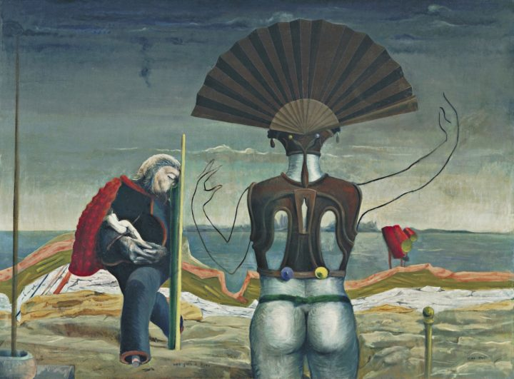 """Max Ernst, """"Woman, Old Man, and Flower"""" (""""Weib, Greis und Blume,"""" 1923/1924), oil on canvas, 38 x 51 1/4, the Museum of Modern Art, New York, purchase, 1937 (photo by Kate Keller, © 2017 Artists Rights Society/ARS, New York / ADAGP, Paris)"""