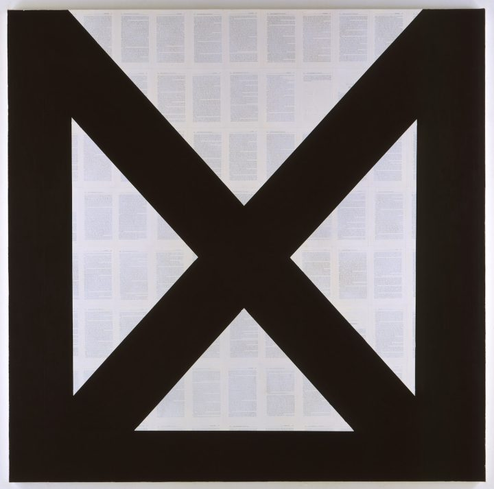 """Tim Rollins and KOS, """"By Any Means Necessary (after Malcolm X)"""" (2008), matte acrylic and book pages on canvas, 72 x 72 in (courtesy Studio KOS, Lehmann Maupin, New York and Hong Kong)"""