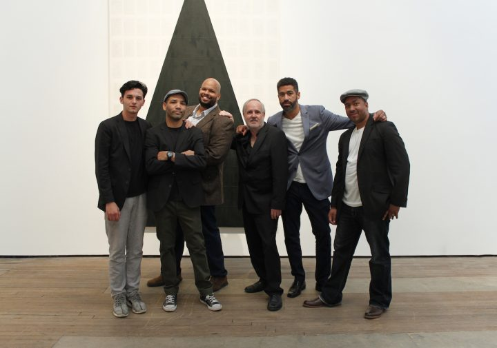Tim Rollins and KOS at Lehmann Maupin in 2016 (courtesy Lehmann Maupin)