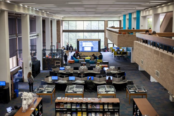 A view of the Fine Arts Library at UT Austin showing (courtesy University of Texas Libraries, the University of Texas at Austin)