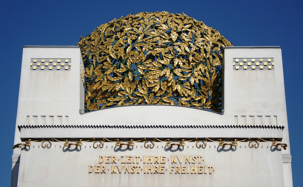 """The façade of the Secession building in Vienna includes the group's motto, """"To every time its art. To art its freedom."""" (photo by Greymouser, via Wikipedia)"""