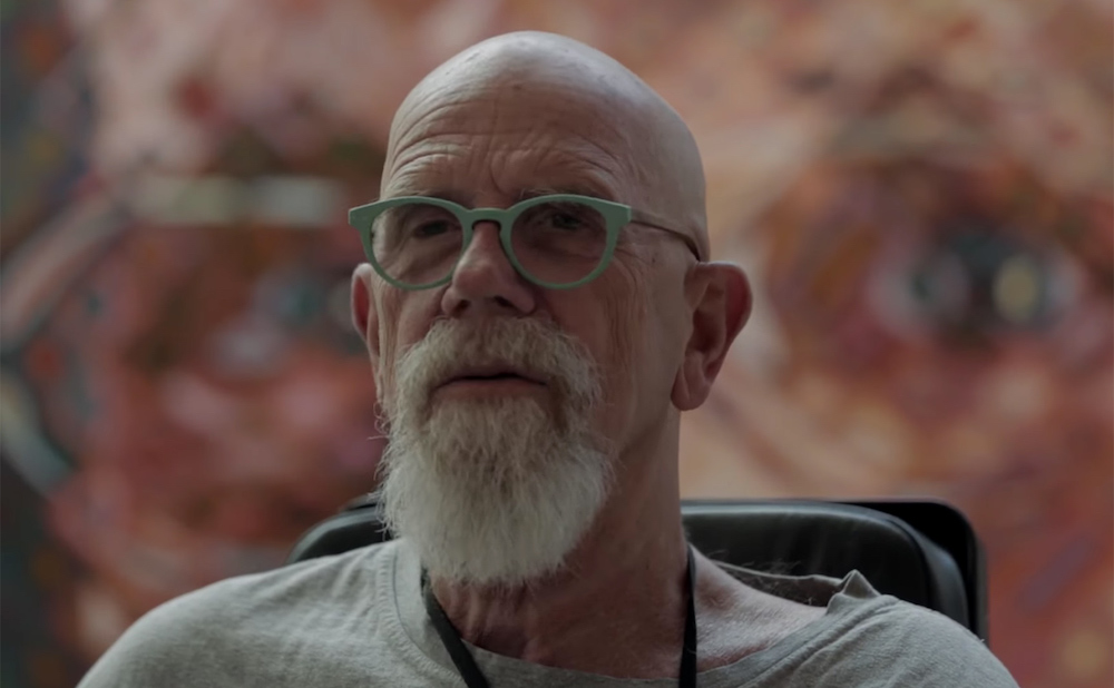Chuck Close in a 2014 interview (screenshot by the author via YouTube)
