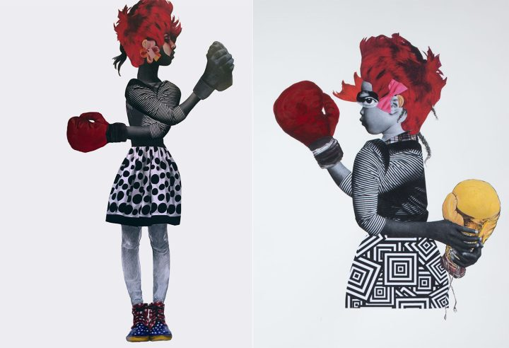 "Deborah Roberts, ""Tug of War"" (2017, left), private collection; and Deborah Roberts, ""Rope a Dope"" (2017, right), private collection (both images courtesy of the artist)"