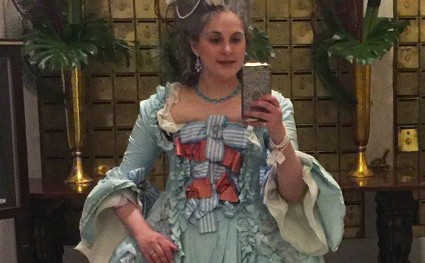 Eliza Vincz in the 18th-century style robe à la française that got her denied entry to the Metropolitan Museum. (photo courtesy Eliza Vincz)