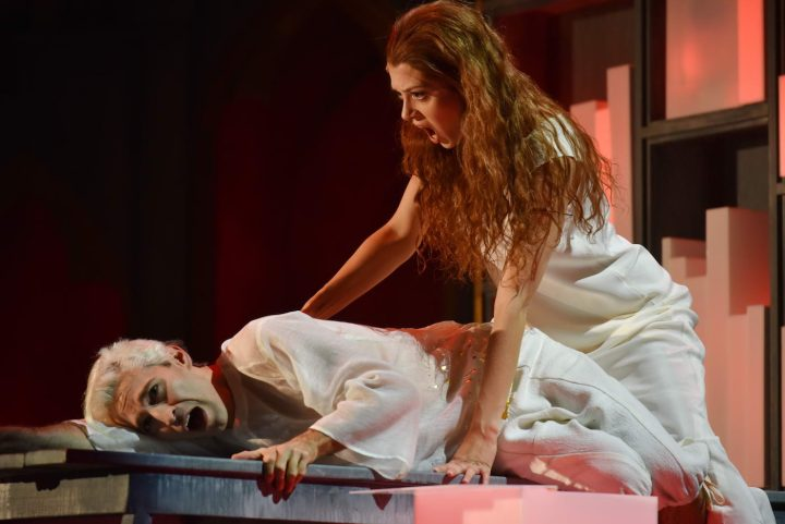 """I am not """"the woman"""" declares Agnès (soprano Lauren Snouffer) to the Boy (countertenor Anthony Roth Costanzo), """"My name is Agnès,"""" in a scene from Written on Skin at Opera Philadelphia"""