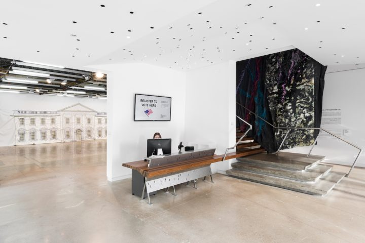 Installation view, <em>Rodney McMillian: Against a Civic Death</em> at The Contemporary Austin – Jones Center on Congress Avenue, Austin, Texas, 2018 (artwork © Rodney McMillian; courtesy the artist, Susanne Vielmetter Los Angeles Projects, and Maccarone, New York; image courtesy The Contemporary Austin; photo by Colin Doyle)