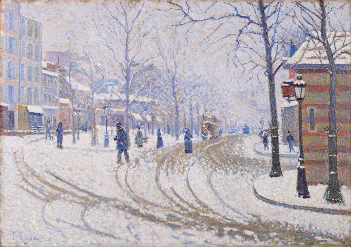 "Paul Signac, ""Snow, Boulevard de Clichy, Paris"" (1886), oil on canvas, Minneapolis Institute of Arts (via Google Art Project/Wikimedia Commons)"