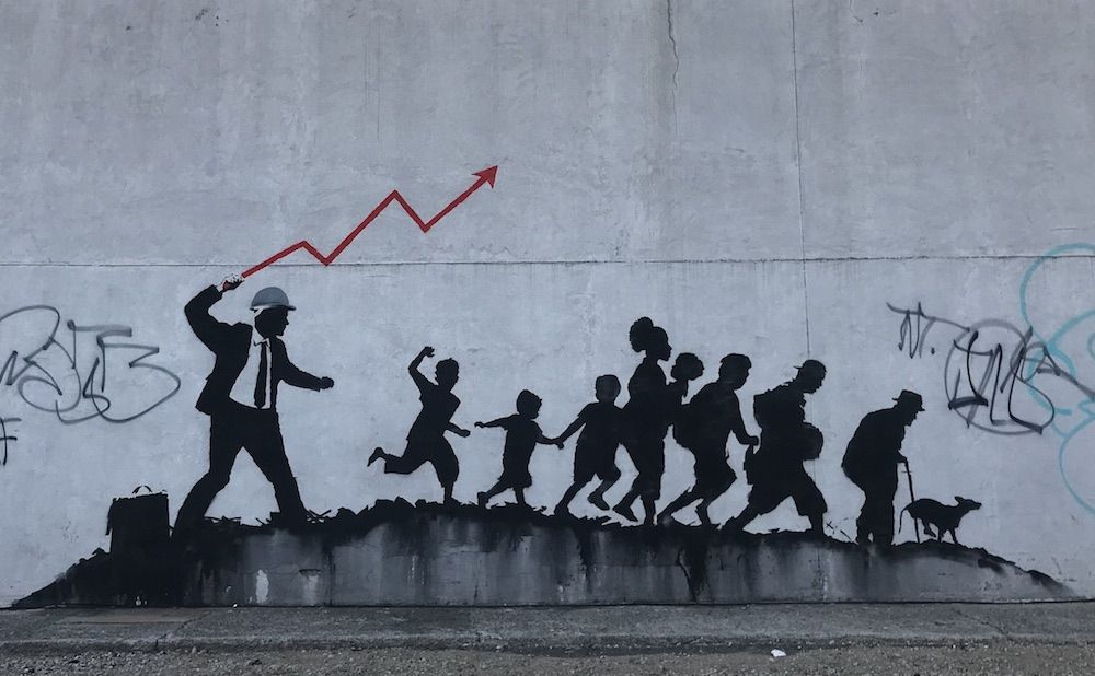 One of the new Banksy murals in Midwood, Brooklyn
