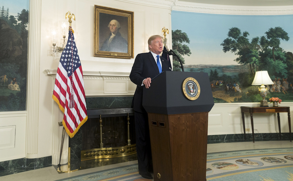 President Trump giving a speech on October 13, 2017 (official White House photo by D. Myles Cullen)