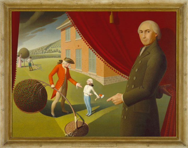 Grant Wood Parson Weems Fable 1939 Oil On Canvas 38 3 8 X 50 1 In 975 1273 Cm Amon Carter Museum Of American Art Fort Worth Texas 197043