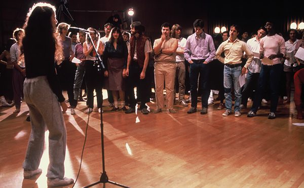 """Adrian Piper, """"Funk Lessons"""" (1983–84), documentation of the group performance at University of California, Berkeley, November 6, 1983; color photograph, collection Adrian Piper Research Archive Foundation Berlin (© Adrian Piper Research Archive Foundation Berlin; photo courtesy of the University of California at Berkeley)"""