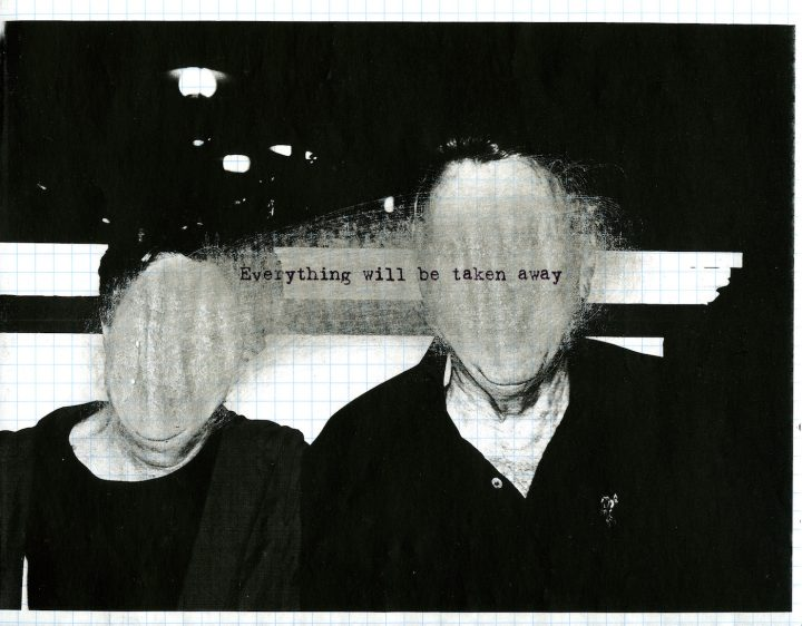"""Adrian Piper, """"Everything #2.8"""" (2003), photocopied photograph on graph paper, sanded with sandpaper, overprinted with inkjet text, 8 1/2 x 11, private Collection (© Adrian Piper Research Archive Foundation Berlin)"""