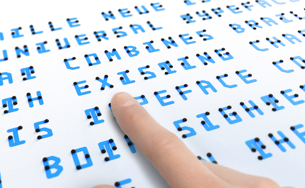 a braille based typeface readable by both touch and sight