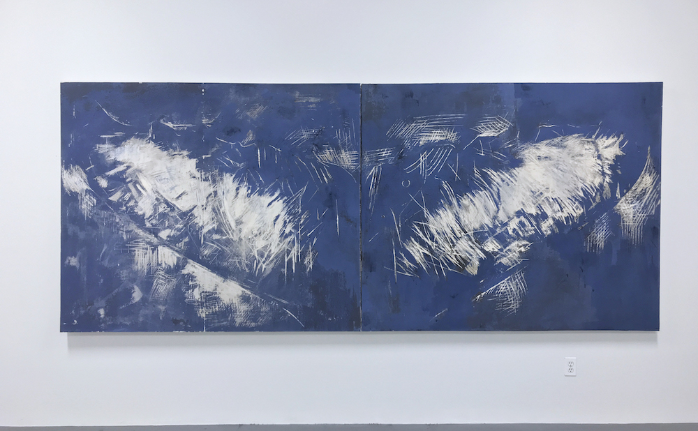 """Juliette Dumas, """"Whale Fluke (Le Grand Bleu)"""" (2018), clay and gouache on paper mounted on canvas, 60 x 144 in"""