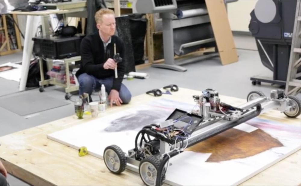 Barnaby Furnas working with Artmatr's technology (photo by John Romano, courtesy ArtMatr)