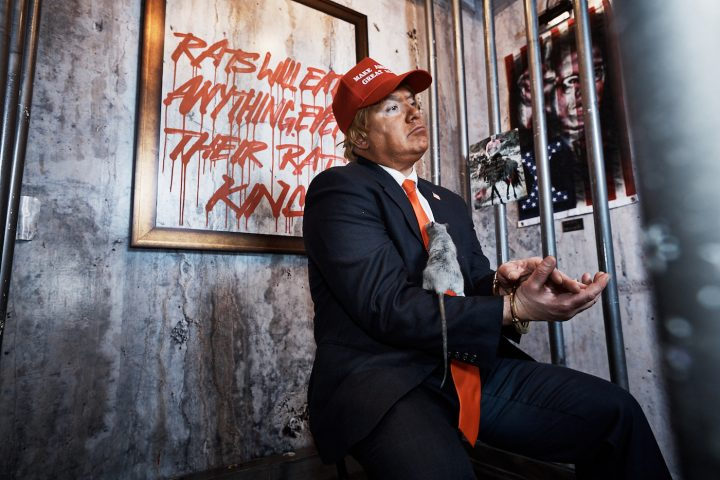 """Installation view of Indecline's """"The People's Prison"""" (2018) at the Trump International Hotel & Tower (all photos by and courtesy Jason Goodrich unless indicated otherwise)"""