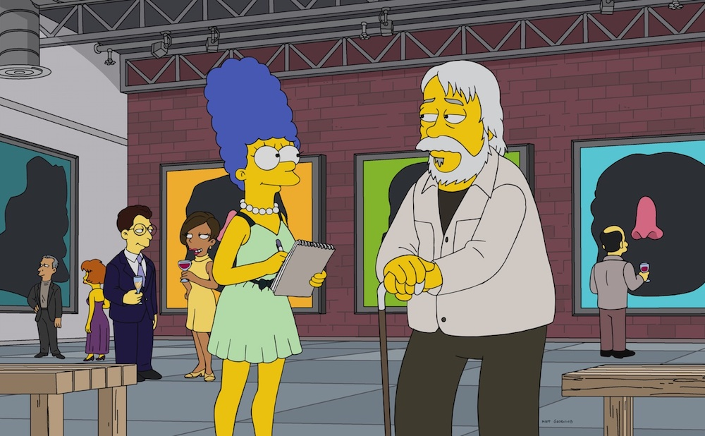 "John Baldessari's appearance in episode 13 of season 29 of The SImpsons, ""3 Scenes Plus a Tag from a Marriage"" (Courtesy The Simpsons ™ and © 2017 TCFFC, all rights reserved, via WikiSimpsons)"