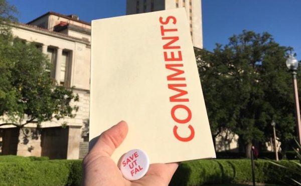 Studio Art and Art History undergraduate Logan Larsen drops off a self-designed zine and a button to the Provost and Dean Dempster at UT-Austin. Larsen is also the designer of many of the posters used by the #SaveUTLibraries campaign. (image by Logan Larsen, used with permission)