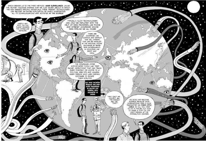 Pratap explains mass surveillance to Khalil in a spread from chapter 10 of Verax