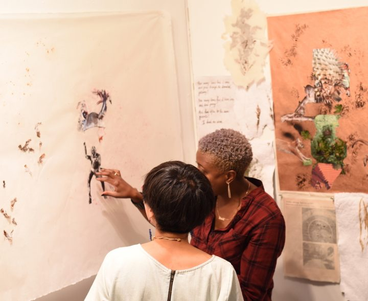 """Center for Afrofuturist Studies artist-in-residence Krista Franklin's installation, """"...to take root among the stars"""" at Public Space One, September 2016 (image courtesy of Public Space One/The Center for Afrofuturist Studies)"""