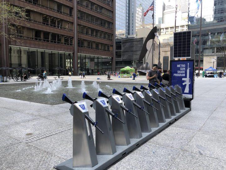"The ""Metro Gun Share Program"" station in Daley Plaza, Chicago"