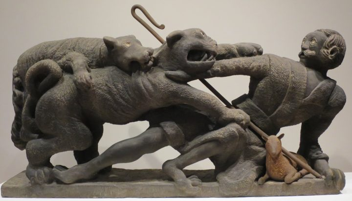 """Henry Church, """"A Friend in Need is a Friend Indeed"""" (1888), sandstone and iron, High Museum of Art, Atlanta (photo by Wmpearl, via Wikimedia Commons)"""