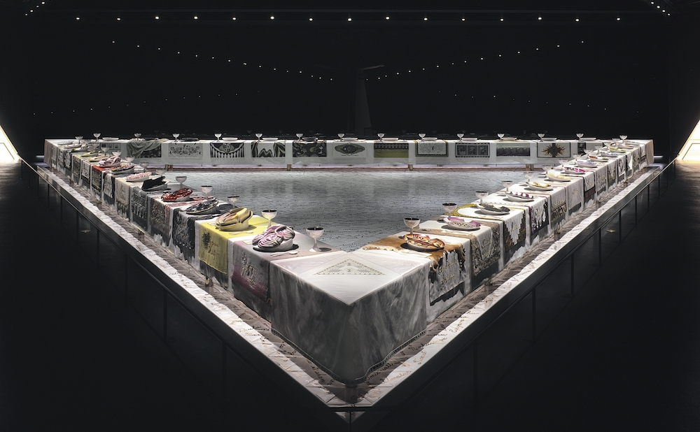 """Judy Chicago, """"The Dinner Party"""" (1979), collection of the Brooklyn Museum, gift of the Elizabeth A Sackler Foundation (© Judy Chicago / Artists Rights Society (ARS), New York; photo © Donald Woodman/ARS NY)"""