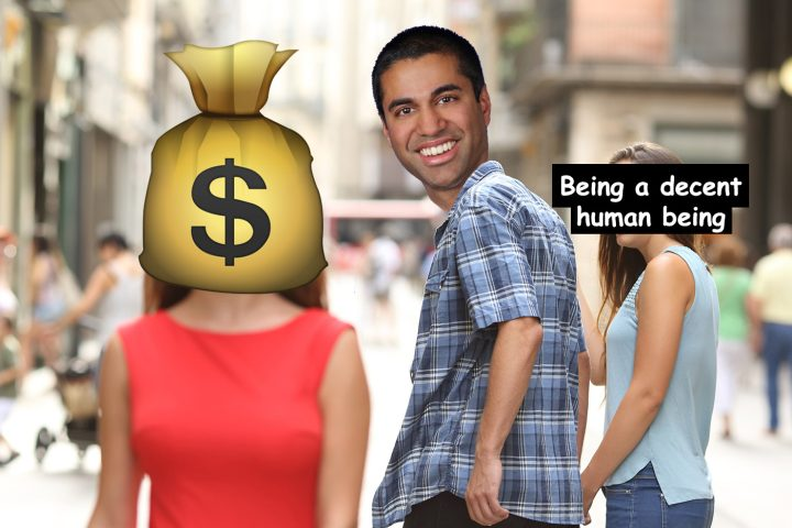 """A version of the """"distracted boyfriend"""" meme featuring Federal Communications Commission chairman Ajit Pai (Benjamin Sutton/Hyperallergic)"""