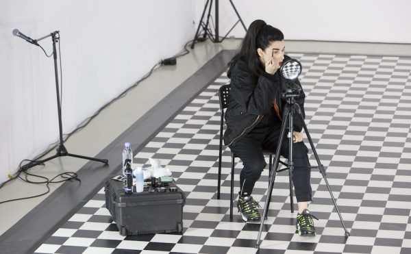 """Alexandra Bachzetsis, """"PRIVATE: Wear a mask when you talk to me"""" (2016), at Kunstverein Hannover (photo © China Hopson)"""