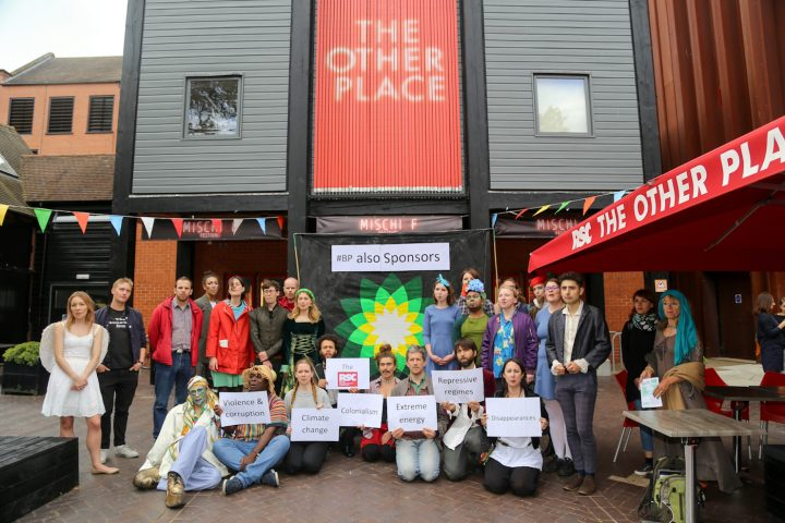 The #BPAlsoSponsors vigil outside the RSC (photo by Diana More)