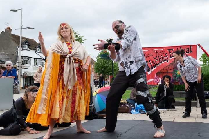 Fracking tries to seize the sun! The RenewRebels in action. (photo by Ron Fassbender)
