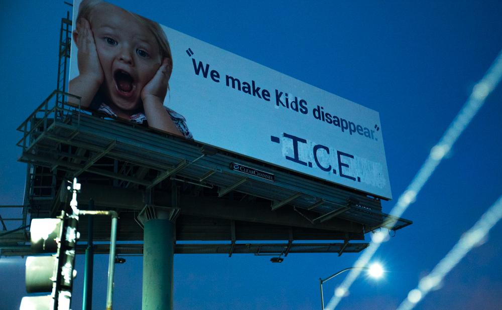 The billboard after Indecline's intervention (photo courtesy Indecline)