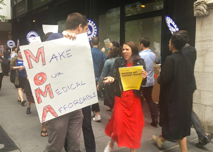Demonstrators outside the Museum of Modern Art on May 31, 2018, calling for a fair contract for the museum's union workers.