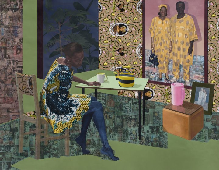 """Njideka Akunyili Crosby, """"Dwell: Aso Ebi"""" (2017), the Baltimore Museum of Art, purchased as the gift of Nancy L. Dorman and Stanley Mazaroff, Baltimore, in Honor of Kristen Hileman (courtesy the Baltimore Museum of Art)"""