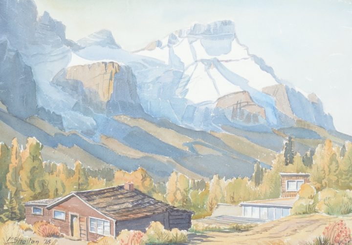 """Margaret Shelton, """"Mount Rundle from Harvey Heights, Canmore"""" (1978), watercolor on paper, from the University of Lethbridge Art Collection; gift of Dr. Margaret (Marmie) Perkins Hess, 2017 (courtesy University of Lethbridge Art Collection)"""