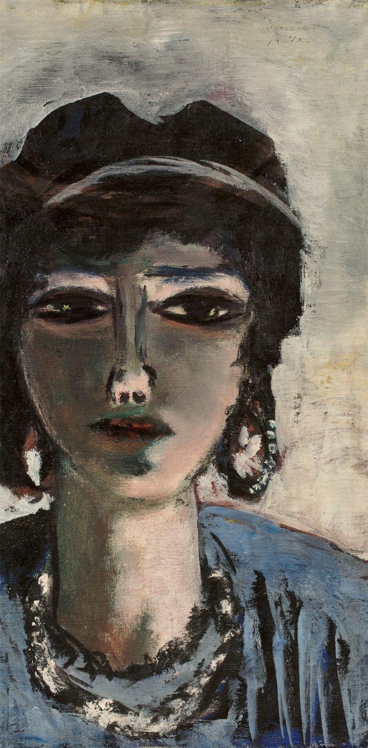 "Max Beckmann, ""The Egyptian Woman"" (1942), oil on canvas, 60 × 30 cm (image courtesy Grisebach; © Fotostudio Bartschnen@grisebach.com)"