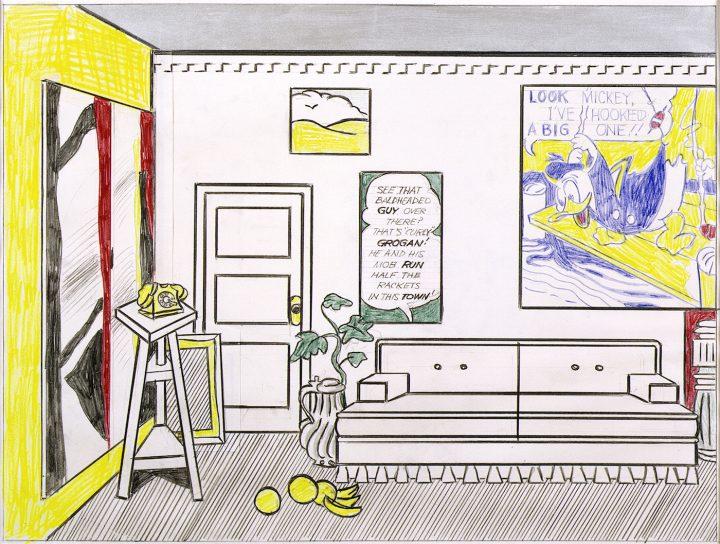 "Roy Lichtenstein, ""Artist's Studio 'Look Mickey' (Study)"" (1973), graphite pencil, colored pencil, Magna, cut paper drawn on with graphite pencil, and colored pencil on paper, 19 3/4 x 23 3/4 in (© Estate of Roy Lichtenstein)"