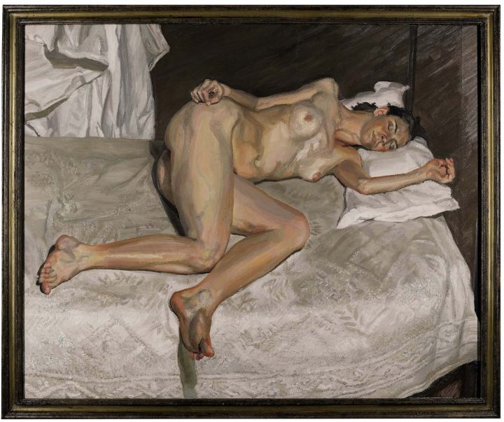 """Lucian Freud, """"Portrait on a White Cover"""" (2002–03), oil on canvas, 45 7/8 x 56 1/4 in, sold for £22,464,300 ($29,830,344) at Sotheby's (image courtesy Sotheby's)"""