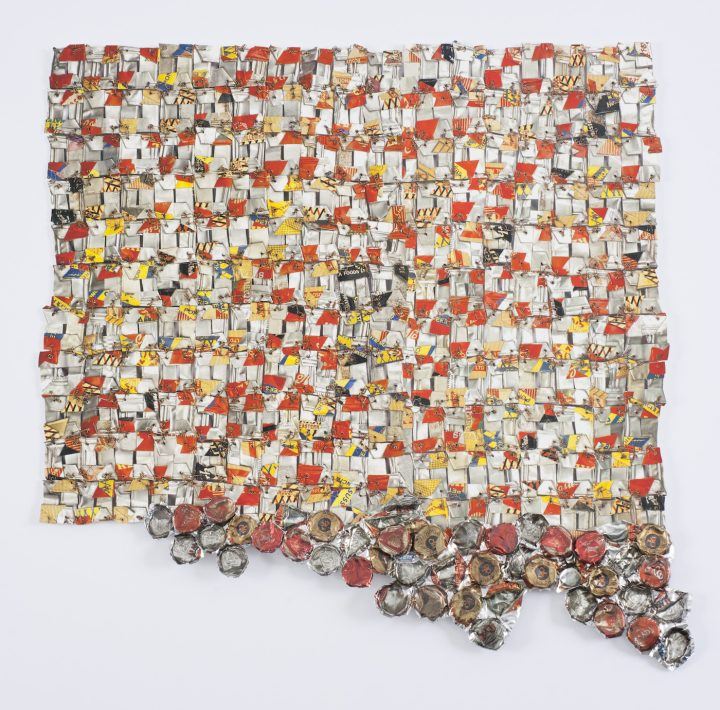 """El Anatsui, """"Paper and Gold"""" (2017), pigment inkjet print with hand-cut edges, printed and hand-sculpted aluminum collage, and copper wire, edition 11/30, 20 x 20 x 1 in, Weatherspoon Art Museum, museum purchase with funds from the Frances Stern Loewenstein Acquisition Endowment, 2017 (courtesy the Weatherspoon Art Museum)"""