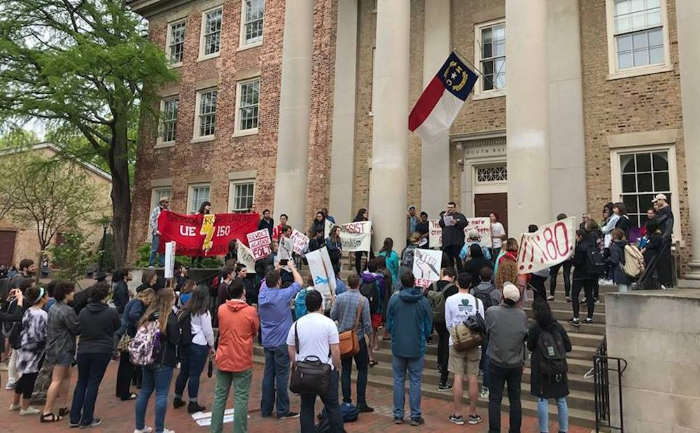 University of North Carolina, Chapel Hill art and humanities students, alongside Graduate Student Union UE 150, gathered outside Chancellor Folt's Office. (photo by Kelsey Martin)