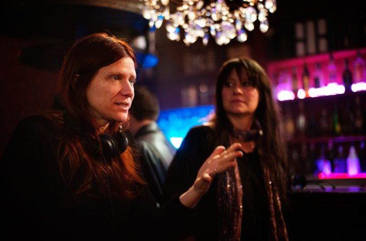 Director Susana Nicchiarelli on the set of <em srcset=