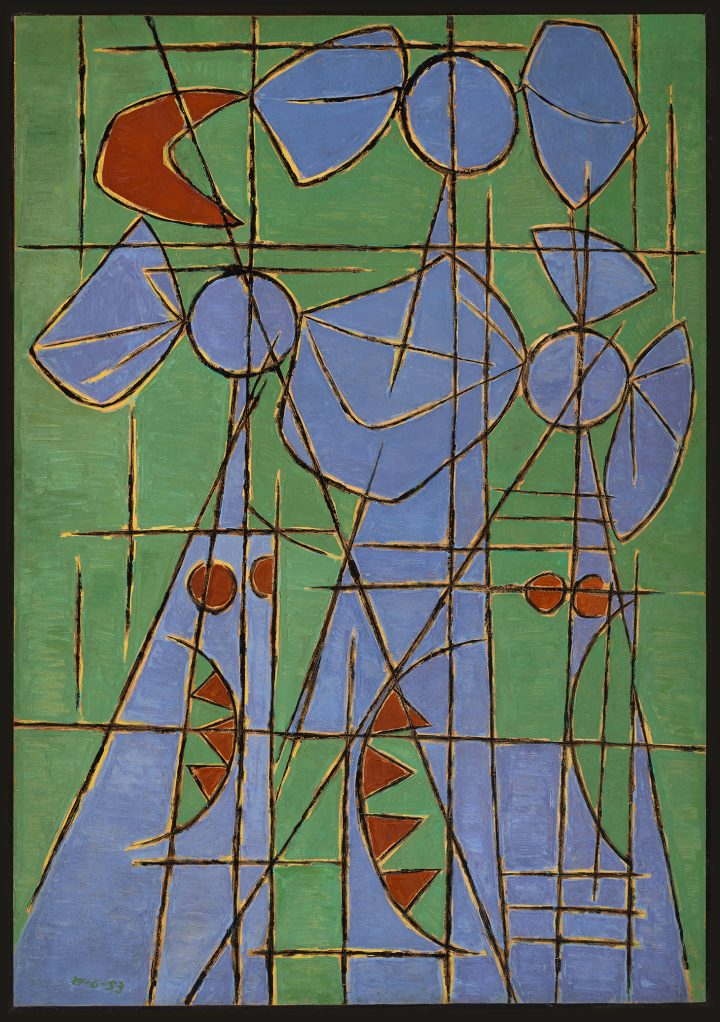 """Oswaldo Vigas, """"Proyecto para mural en verde"""" (1953), oil on paper glued on Masonite, 42.52 x 29.52 inches (image courtesy of the Oswaldo Vigas Foundation)"""