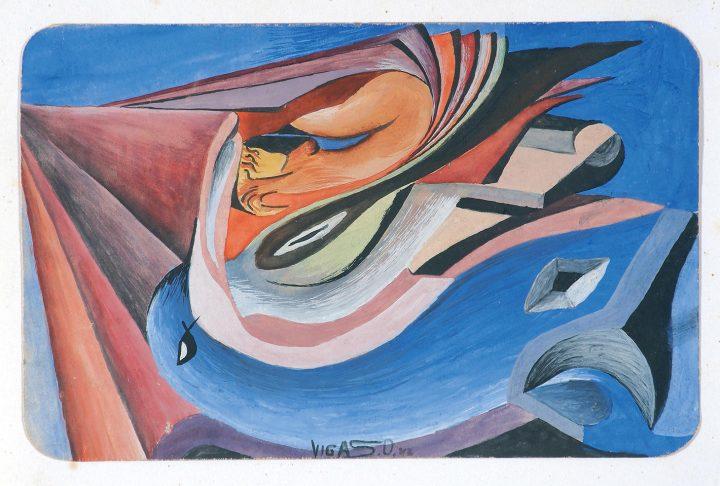 "Oswaldo Vigas, ""Composicion con pajaro azul"" (1942), gouache on cardboard, 4.92 x 7.48 inches (image courtesy of the Oswaldo Vigas Foundation)"