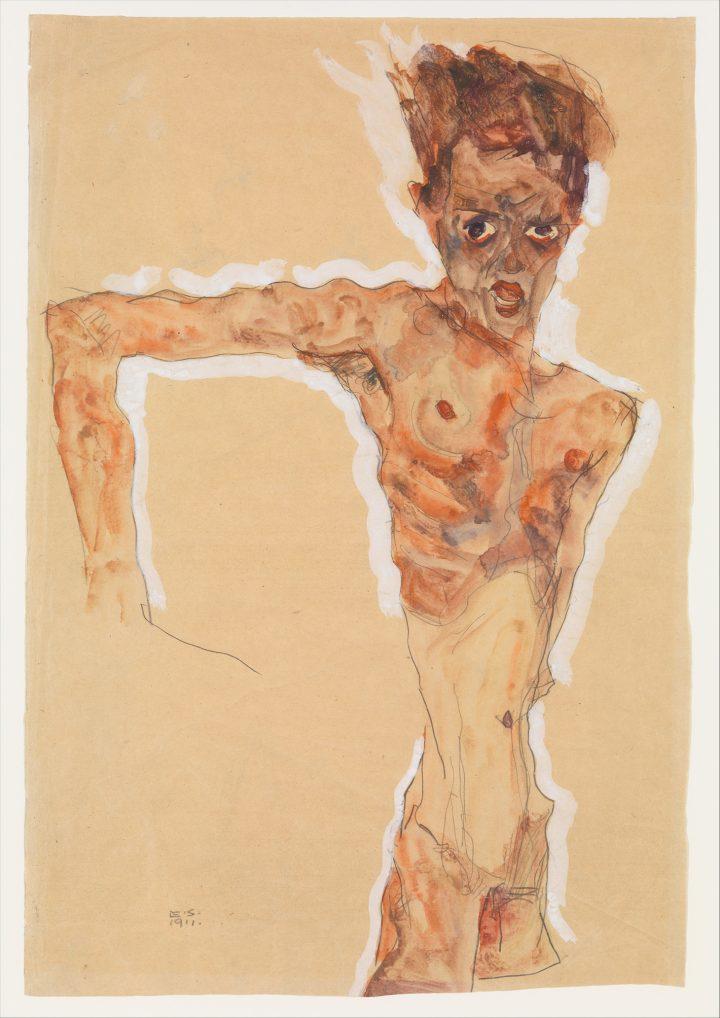 "Egon Schiele, ""Self-Portrait"" (1911), watercolor, gouache, and graphite on paper, 20 1/4 x 13 3/4 in., (image bequest of Scofield Thayer, 1982)"
