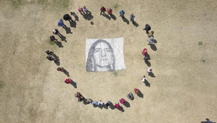 """Cannupa Hanska Luger's """"Every One"""" with collaborators, photographed from an aerial drone"""